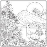 Japans Landschap met Onderstel Fuji en traditiebloemen en B stock illustratie