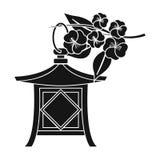 Japans lantaarnpictogram in zwarte die stijl op witte achtergrond wordt geïsoleerd Van de het symboolvoorraad van Japan de vector stock illustratie