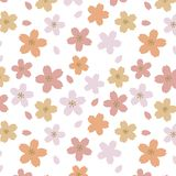 Japans Leuk Oranje Cherry Blossom Pattern royalty-vrije illustratie