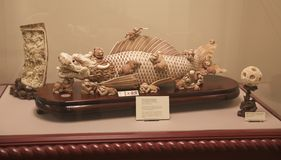 Japans Marmeren Dragon Exhibit op vertoning in een Museum Royalty-vrije Stock Afbeelding
