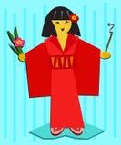 Japans Meisje met Bloem en Wierook vector illustratie
