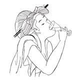 Japans meisje met een glas Stock Afbeeldingen