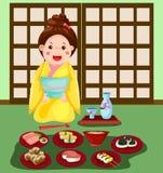 Japans meisje met reeks van Japans voedsel Royalty-vrije Stock Fotografie