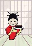 Japans meisje met sushi Royalty-vrije Stock Afbeelding