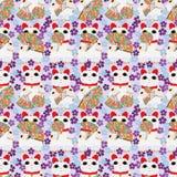Japans neko naadloos patroon van ventilatormaneki Royalty-vrije Stock Fotografie