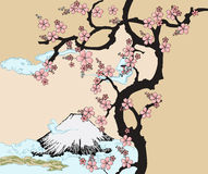 Japans ontwerp met berg Fuji en Boom Sakua. Stock Afbeelding