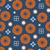 Japans patroon in blauwe en oranje kleuren royalty-vrije illustratie