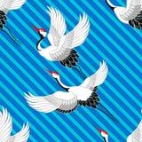 Japans patroon Kranen het vliegen Ornament met oosterse motieven Vector stock illustratie