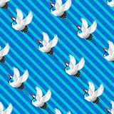 Japans patroon Kranen het vliegen Ornament met oosterse motieven Vector royalty-vrije illustratie