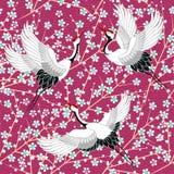 Japans patroon met kersenbloesem Ornament met oosterse motieven Vector Illustratie vector illustratie