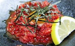 Japans rundvlees tartare royalty-vrije stock afbeelding