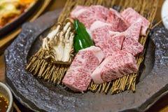 Japans saga ruw rundvlees voor grill en lapje vlees royalty-vrije stock fotografie