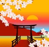 Japans traditioneel landschap vector illustratie