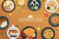 Japans voedsel op een houten achtergrond stock illustratie