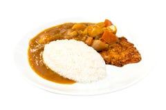 Japans voedsel, Rijst met Varkensvleeskotelet Tonkatsu en kerriekip royalty-vrije stock foto