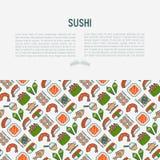 Japans voedselconcept met dunne lijnpictogrammen royalty-vrije illustratie