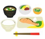 Japans voedseldiner, zalm stock illustratie