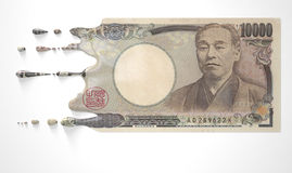 Japans Yen Melting Dripping Banknote stock foto