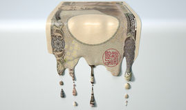 Japans Yen Melting Dripping Banknote stock afbeelding