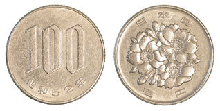 100 Japans yensmuntstuk Royalty-vrije Stock Afbeelding