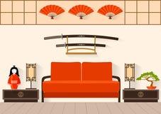 Japanse Binnenlandse Vectorillustratie Royalty-vrije Stock Afbeeldingen