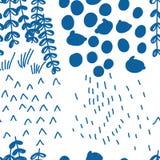Japanse blauwe stijl die abstract naadloos patroon trekken van de vier seizoenen stock illustratie