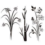 Japanse bloemenontwerpreeks Royalty-vrije Stock Afbeeldingen