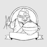 Japanse chef-kok in de vorm van teken. Drawin uit de vrije hand Stock Afbeeldingen