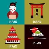 Japanse cultuur en godsdienstige vlakke pictogrammen Stock Fotografie