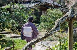 Japanse dame die in traditionele kleding bij de tuin van Kamakura lopen royalty-vrije stock afbeelding
