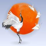Japanse dansende kraan en document vogels over zonsondergang stock illustratie