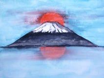 Japanse de bergfuji van het waterverflandschap vector illustratie