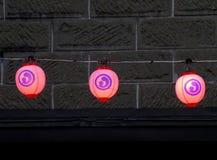 Japanse de Kleurenlamp van het Stijlneon in de Stad van Otaru Stock Fotografie