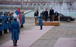 Japanse Eerste minister Shinzo Abe in officieel bezoek aan Republiek Servië stock fotografie