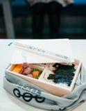 Japanse Ekiben-Stationbento in houten doos Royalty-vrije Stock Afbeelding