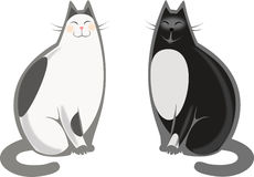 Japanse en Zwarte katten Stock Afbeeldingen