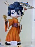 Japanse Geisha Girl met Parasol stock afbeeldingen