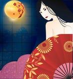 Japanse geishaillustratie Stock Foto's