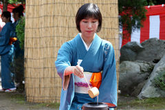 Japanse groene theeceremonie in tuin Royalty-vrije Stock Fotografie