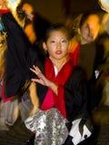 Japanse het festivalmaturi van het dansers jonge meisje Royalty-vrije Stock Afbeeldingen