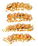 Japanse hete sushibroodjes geplaatst die op wit worden geïsoleerd Royalty-vrije Stock Fotografie