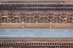 Japanse houten tempel binnenlandse details Stock Fotografie
