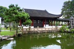 Japanse huis en tuin Royalty-vrije Stock Afbeeldingen