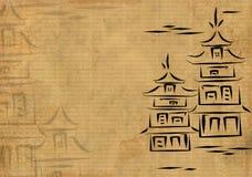 Japanse huizen, die door inkt op een rijstpapier worden getrokken