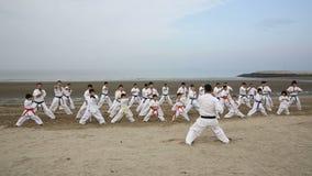 Japanse karatevechtsporten die bij het strand opleiden stock video