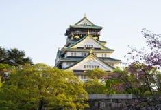 """Japanse kasteel van Osaka, Japan †het """"met mooie kersenbloesem in lentetijd stock foto"""