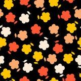 Japanse kawaiibloemen op een zwarte geworpen achtergrond het herhalen van patroon royalty-vrije illustratie