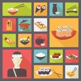 Japanse keuken, geplaatste voedselpictogrammen, vlak ontwerp Stock Afbeelding