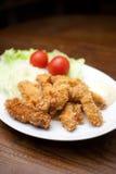 Japanse Keuken, kakifurai (Gefrituurde oesters) Stock Fotografie