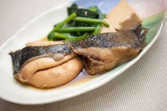 Japanse Keuken Nizakana (gestroopte Platvissen) Stock Foto